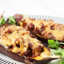 Stuffed Aubergines Recipe (with a lightly spiced ground beef filling)