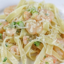 Creamy Asparagus Pasta with Prawns