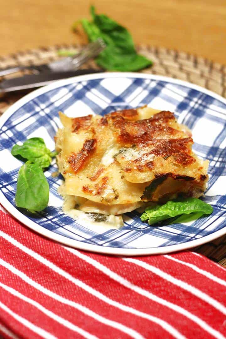 white chicken Parmesan lasagna