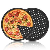 Pizza Pans, 2 Pack Segarty Carbon Steel Perforated Baking Pan with Nonstick Coating, 12 Inch Round Pizza Crisper Tray Tools Bakeware Set Cooking Accessories for Home Restaurant Kitchen