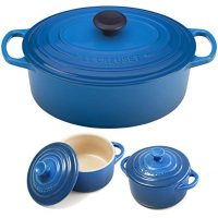 Le Creuset Blue Enameled Cast Iron 5 Quart Oval French Oven