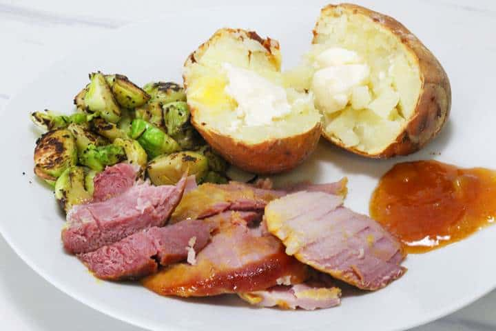 ham with baked potatoes