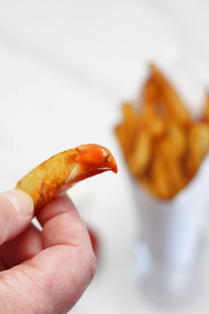 Belgian french fries with ketchup