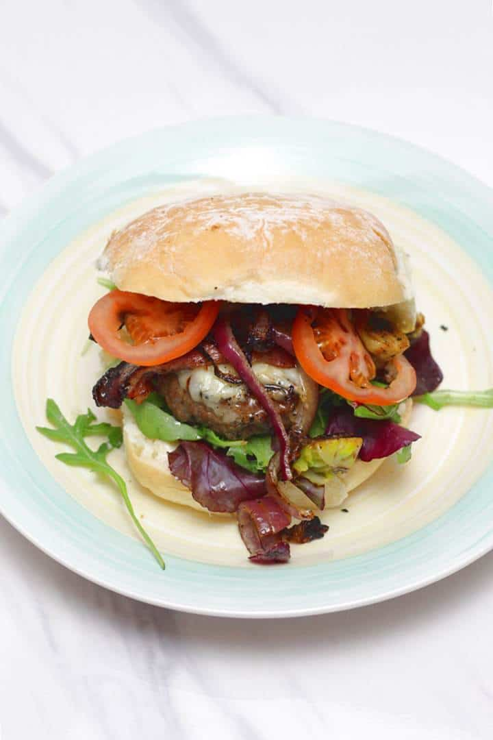 Homemade cheeseburger with Brussels sprouts