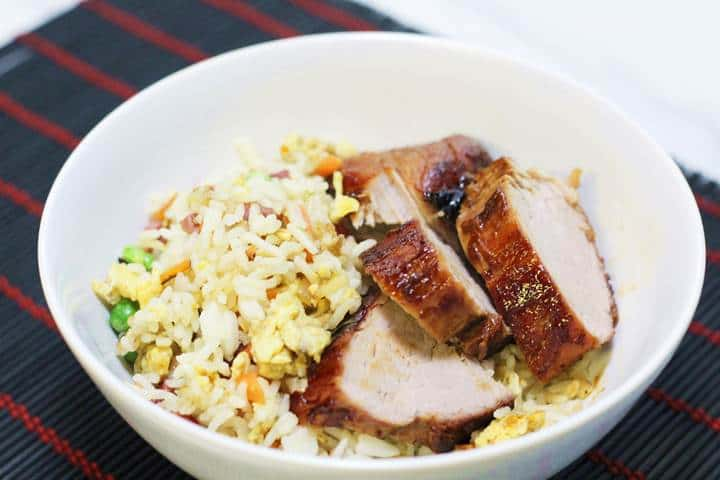 chinese pork and fried rice