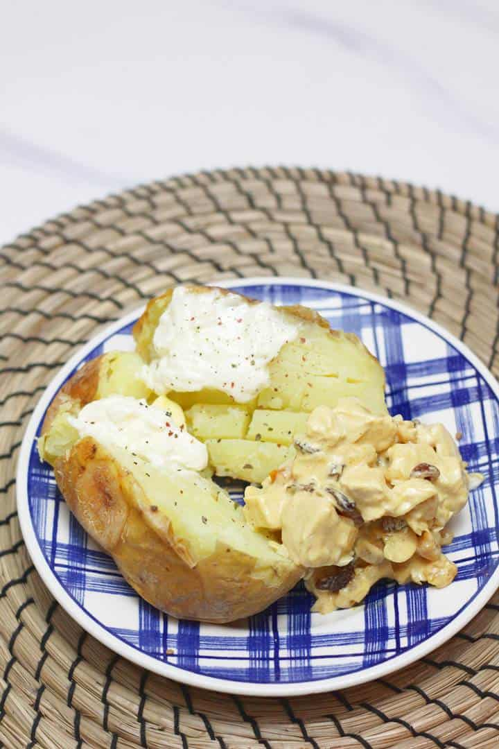 baked potato with coronation chicken