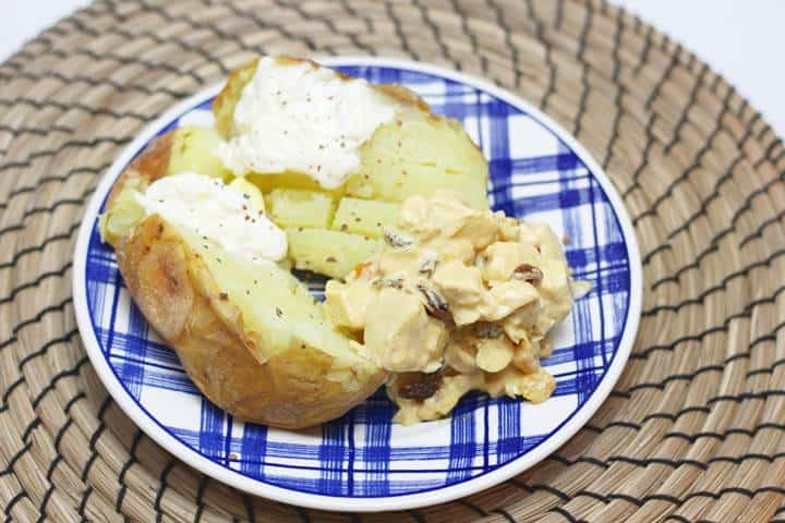 curried chicken with baked potato