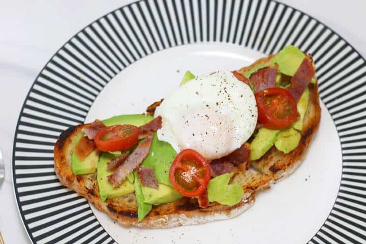 open-faced bacon egg and avocado sandwich