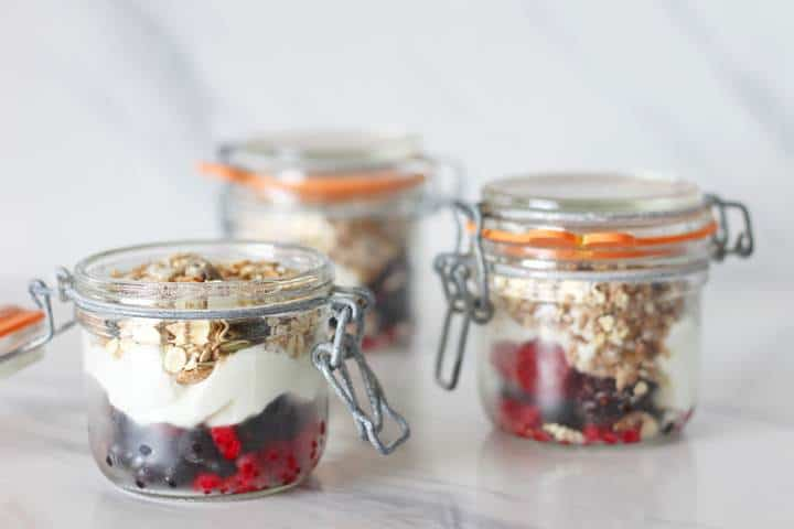Healthy yoghurt fruit pots