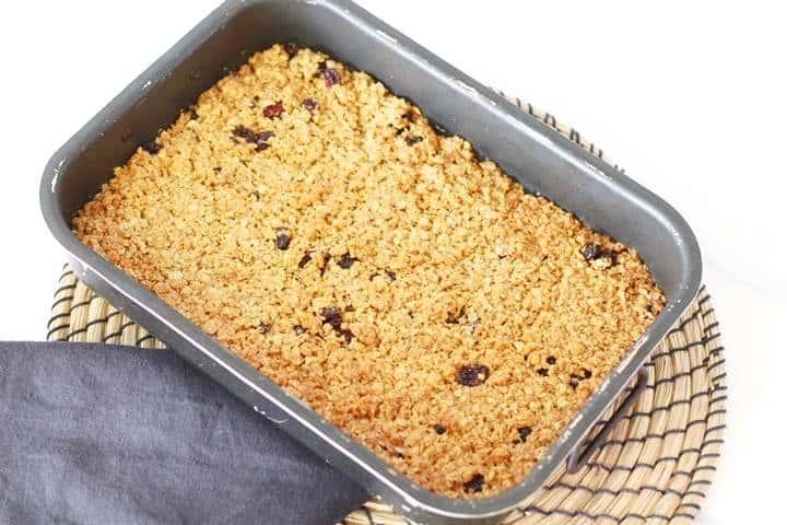english flapjacks in baking tin