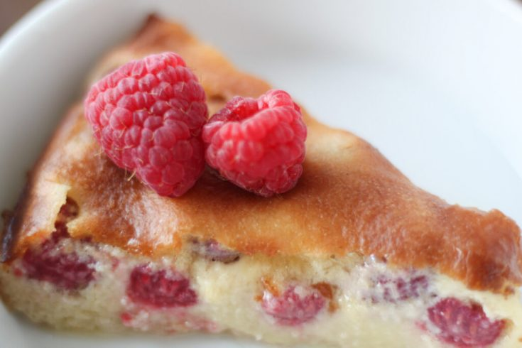 Low Carb Keto Custard Pie with Raspberries