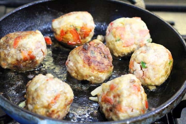 browning meatballs in skillet