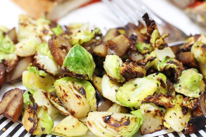 brussel sprouts and chestnuts