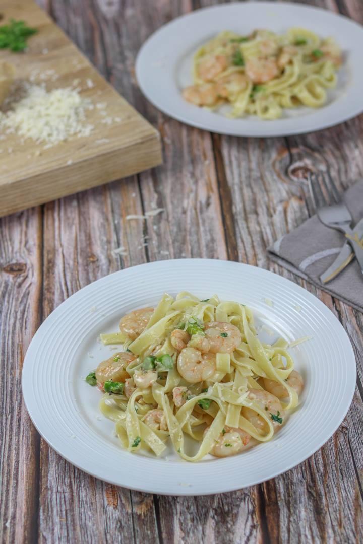 shrimp asparagus pasta cream sauce