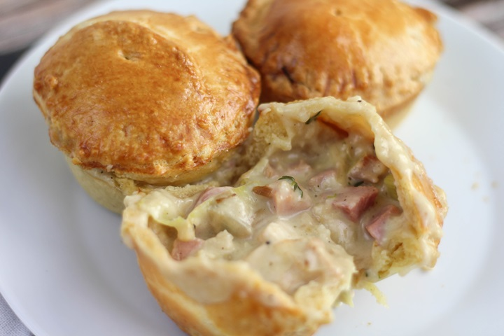 mini chicken ham and leek pot pies