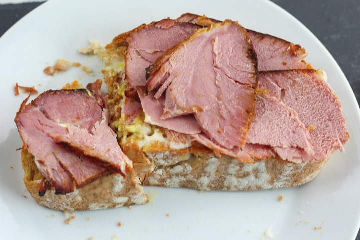 glazed ham on sourdough toast