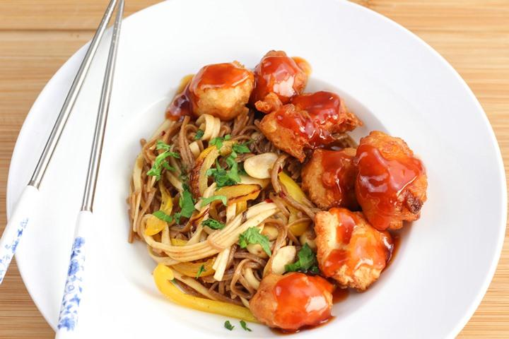 chicken balls with chow mein