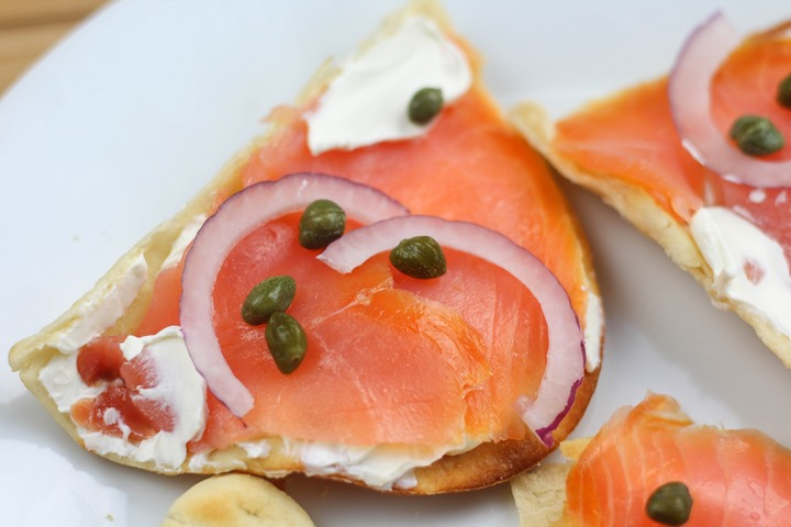 smoked salmon flatbread brunch