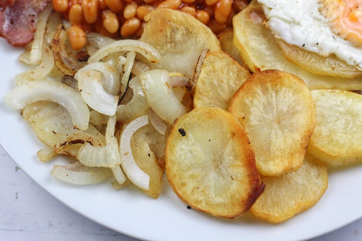Pan Fried Potatoes And Onions For The Perfect Full Breakfast Fry Up Treat