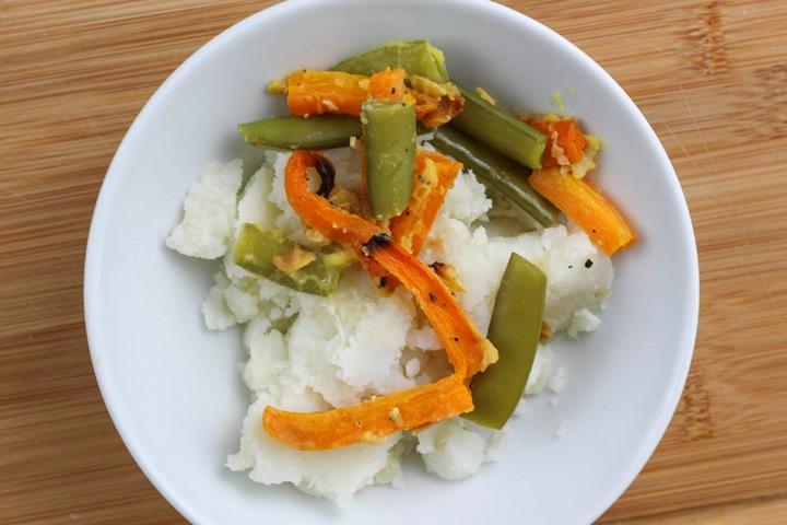 leftover vegetables and mashed potato