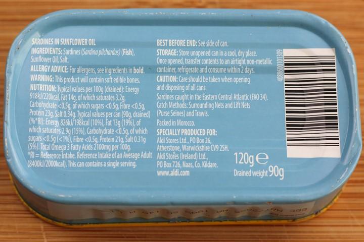 sardines calories