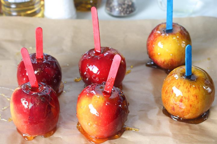 toffee apples cooling