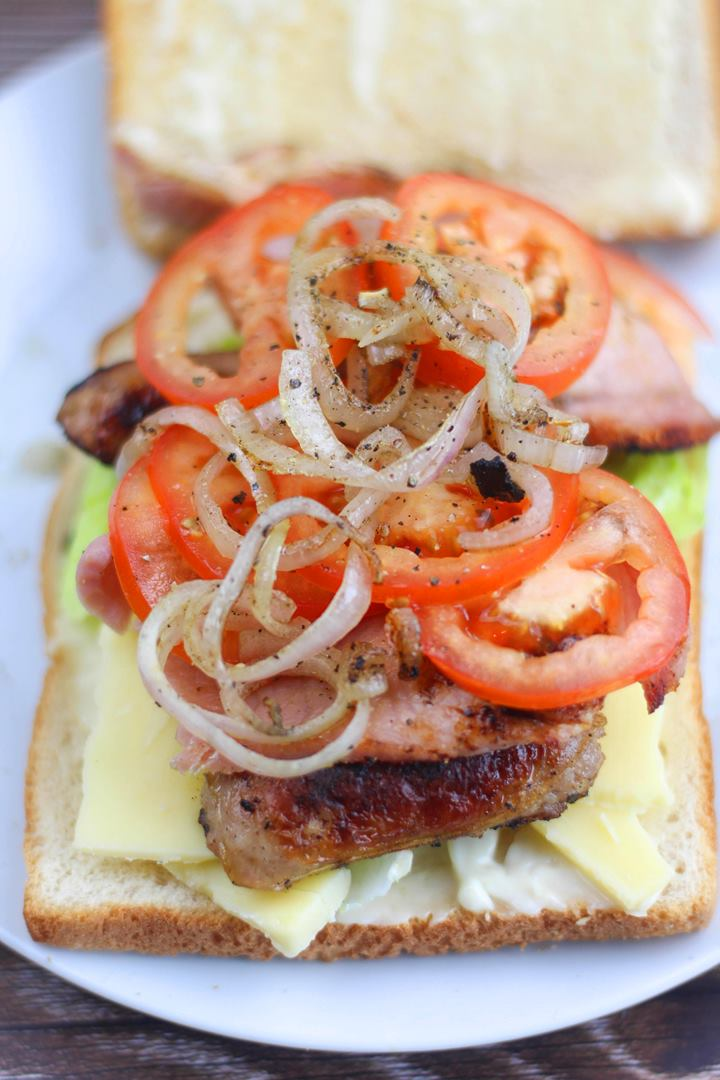 BLT with cheese onion and sausage