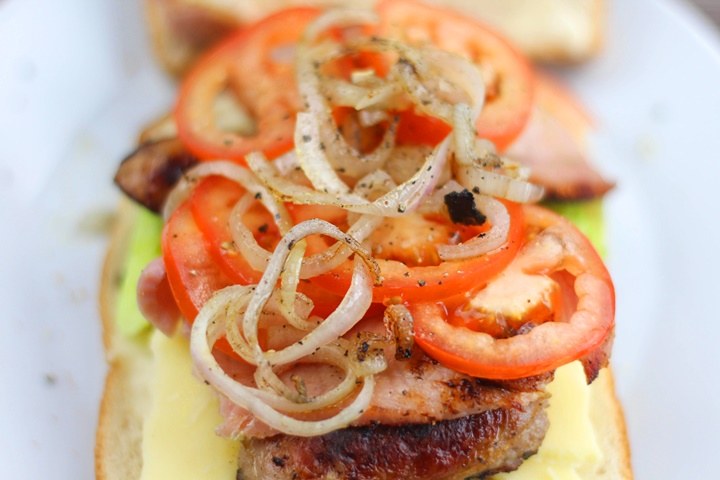 blt with onion, cheese and sausage