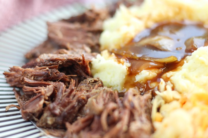 braised beef and onions in slow cooker