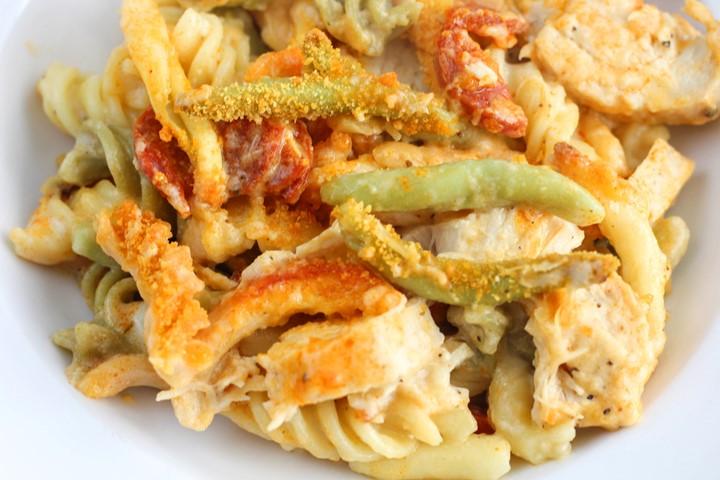 creamy chicken and chorizo pasta bake