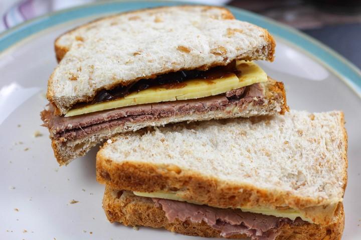 beef cheddar pickle sandwich