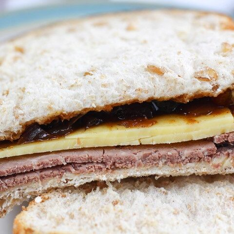 beef cheese pickle sandwich