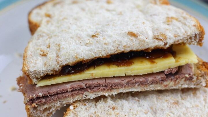 roast beef cheddar and pickle sandwich