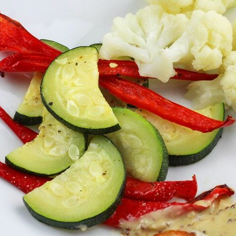 roasted zucchini and peppers